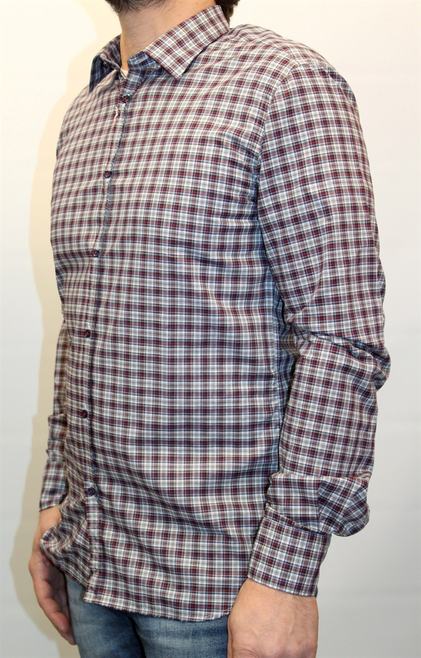 the latest 50bd6 5ac50 CAMICIA AGLINI UOMO DAVID 4074 QUADRI ROSSI