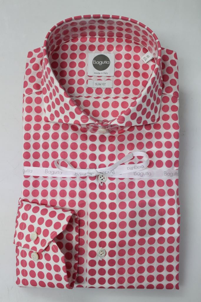 purchase cheap 783bb 9cc3a CAMICIA BAGUTTA UOMO B142L 03722 POIS ROSSO